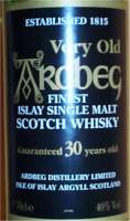 Ardbeg 30 years old - The label