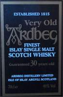 Ardbeg 30 years old islay whisky front of the woodbox