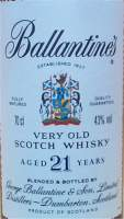 Ballantine's 21 years old the label