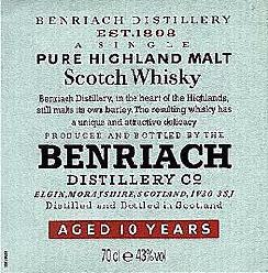 Benriach whisky label 10 yo