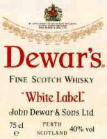 Dewar's white label finest scotch whisky label