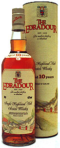 Edradour 10 years old scotch whisky bottle and pipe