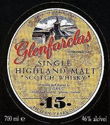Glenfarclas label Single Highland malt 15 years old