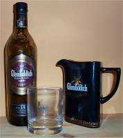 Glenfiddich Solera Reserve bottle and Glenfiddich water decanter