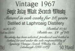 Laphroaig 1967 28 Years old - 50,3% vol. Label - Signatory Vintage