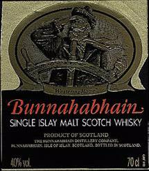 The Bunnahabhain Whisky label.